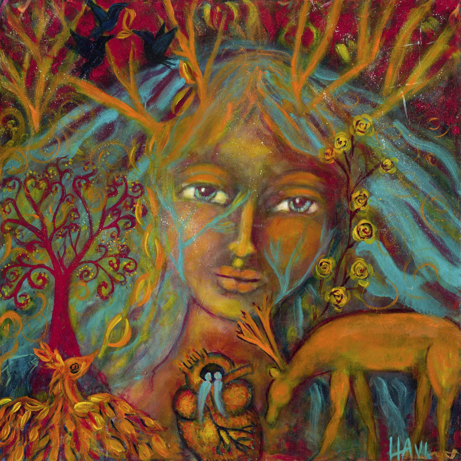 "Keeper of Enchantment,  acrylic on canvas 36"" x 36"" $900"